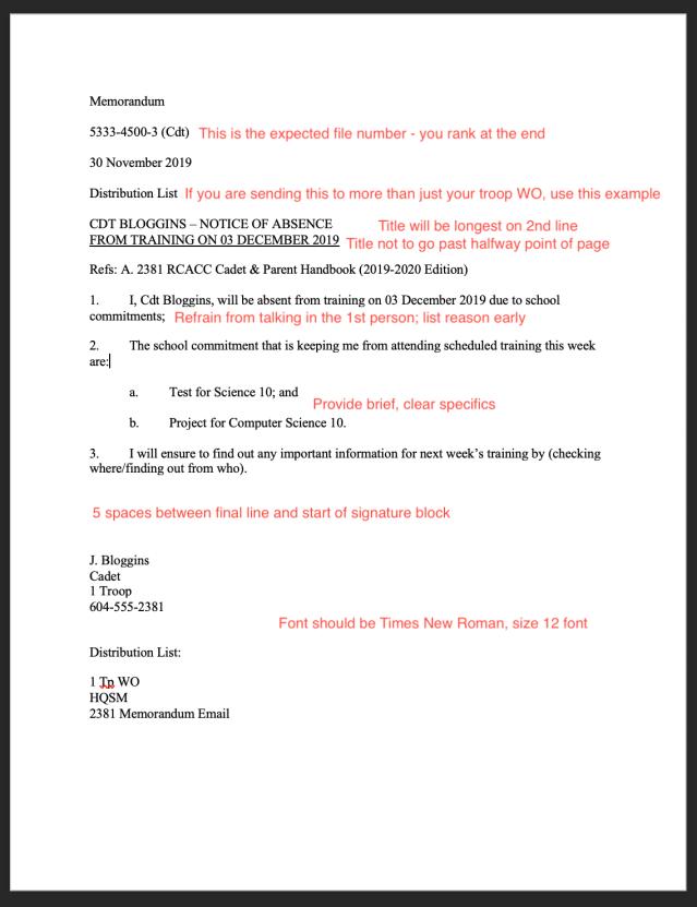 Memorandums – 28 Army Cadets